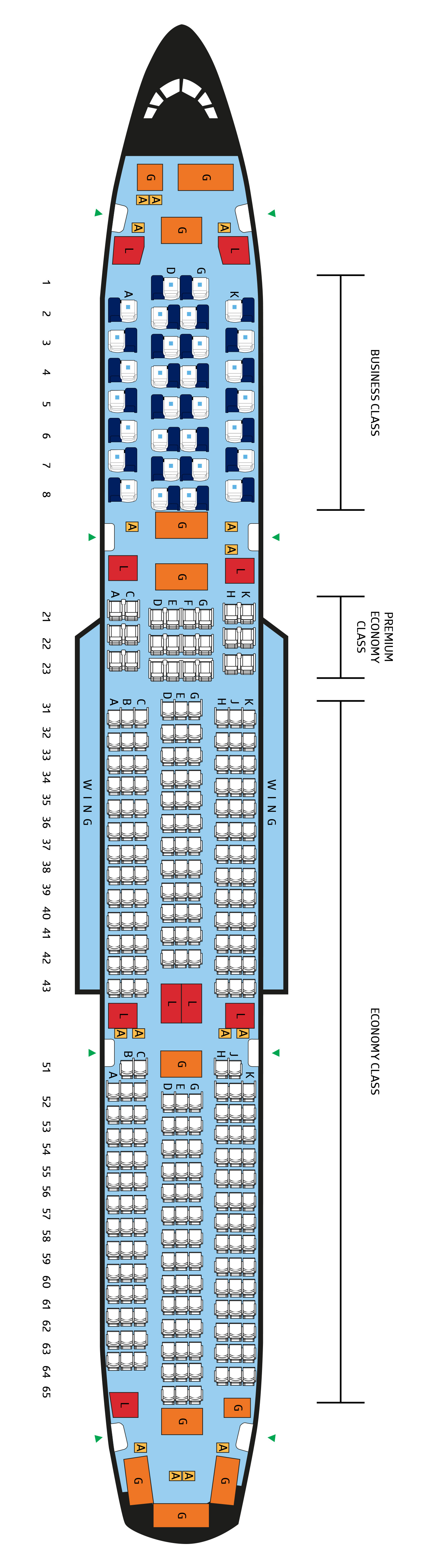 A350-900 A Seat Map on